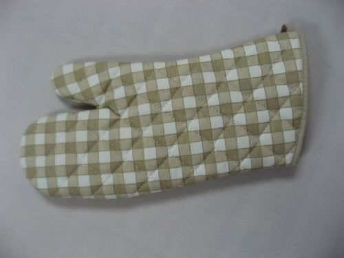 CREAM COLOUR CHECK QUILTED OVEN MITT GLOVE COTTON